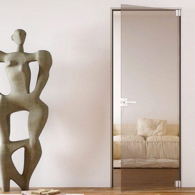 Распашные двери в тонком дверном профиле из аллюминия